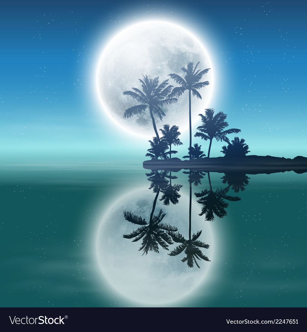 Sea with island with palm trees and full moon vector | Price: 1 Credit (USD $1)