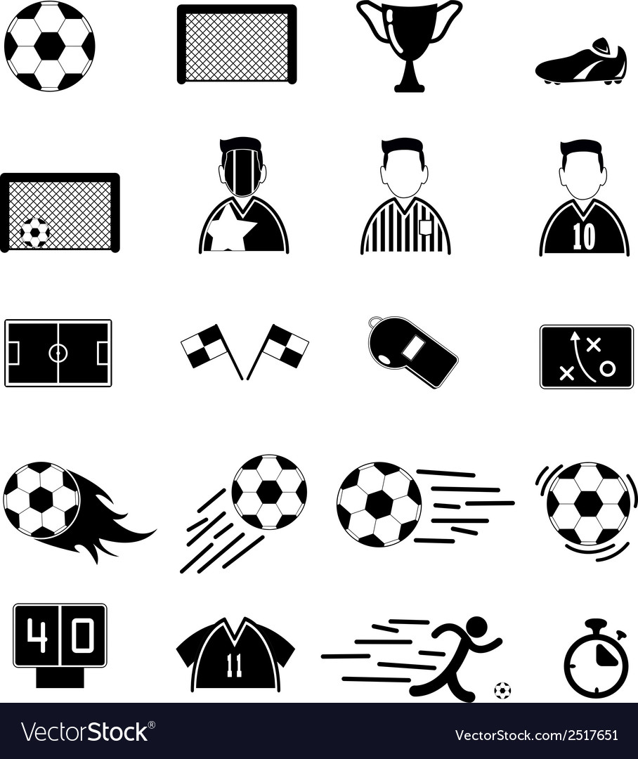 Soccer icons set eps10 vector | Price: 1 Credit (USD $1)