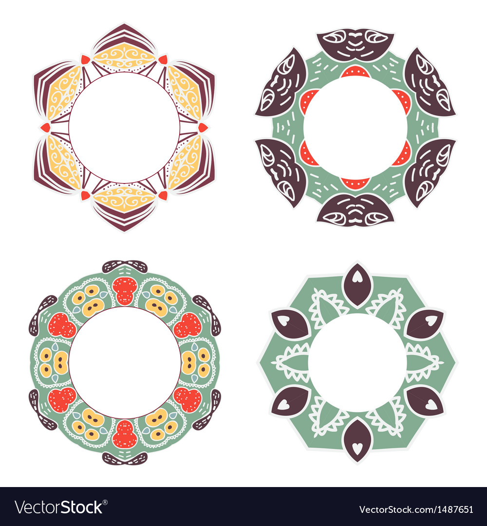 Vintage label options with floral design vector | Price: 1 Credit (USD $1)