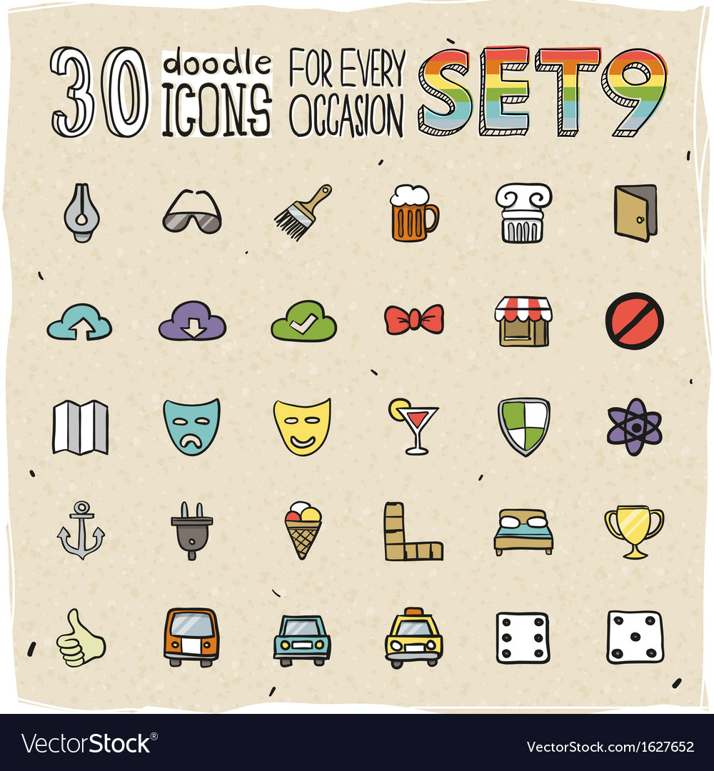 30 colorful doodle icons set 9 vector | Price: 1 Credit (USD $1)