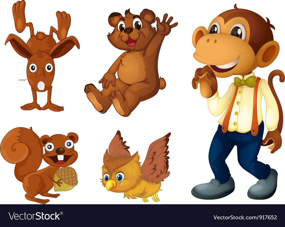 Brown animal collection vector