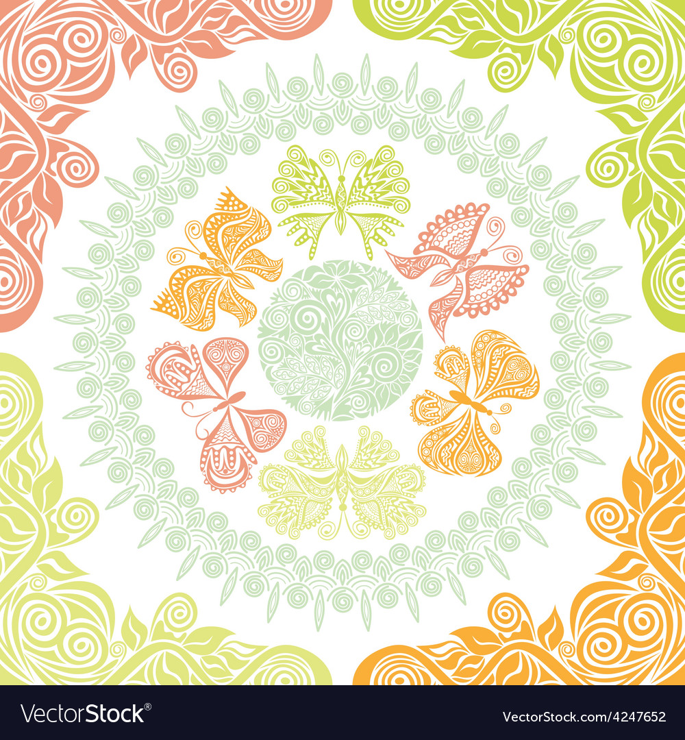 Butterflies and nature pattern background vector | Price: 1 Credit (USD $1)