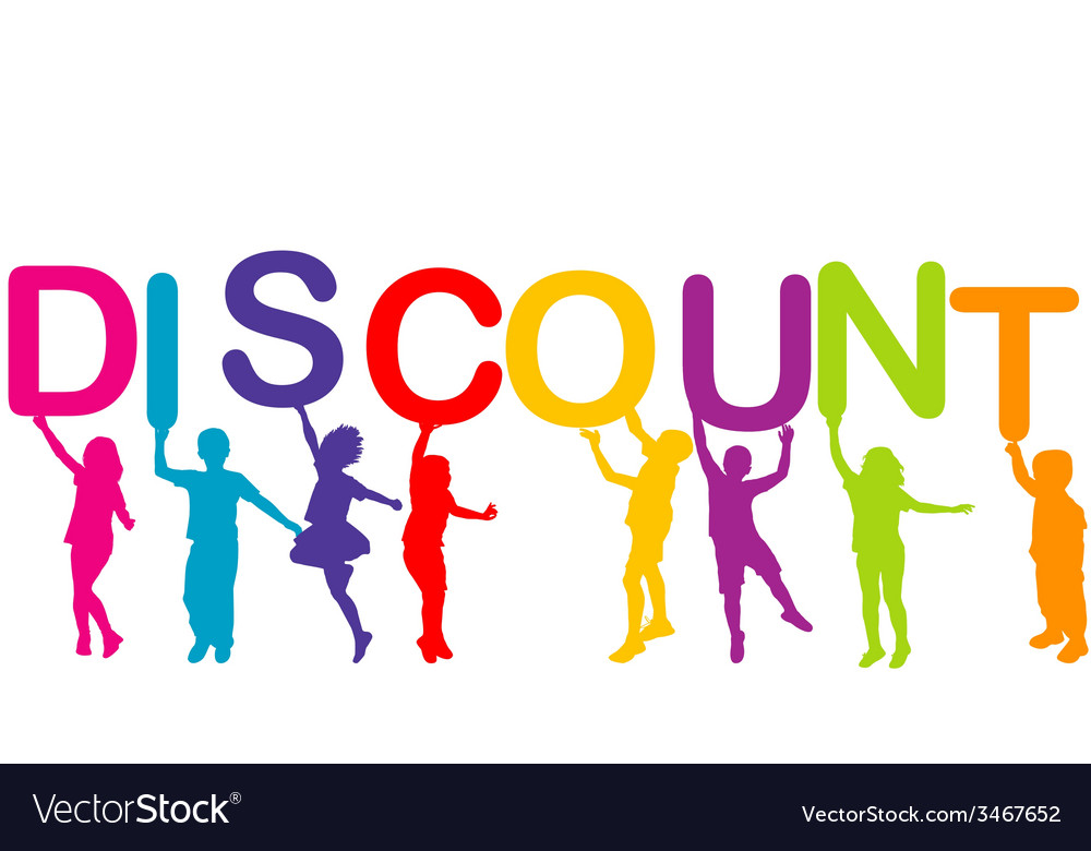 Children holding the word discount vector | Price: 1 Credit (USD $1)