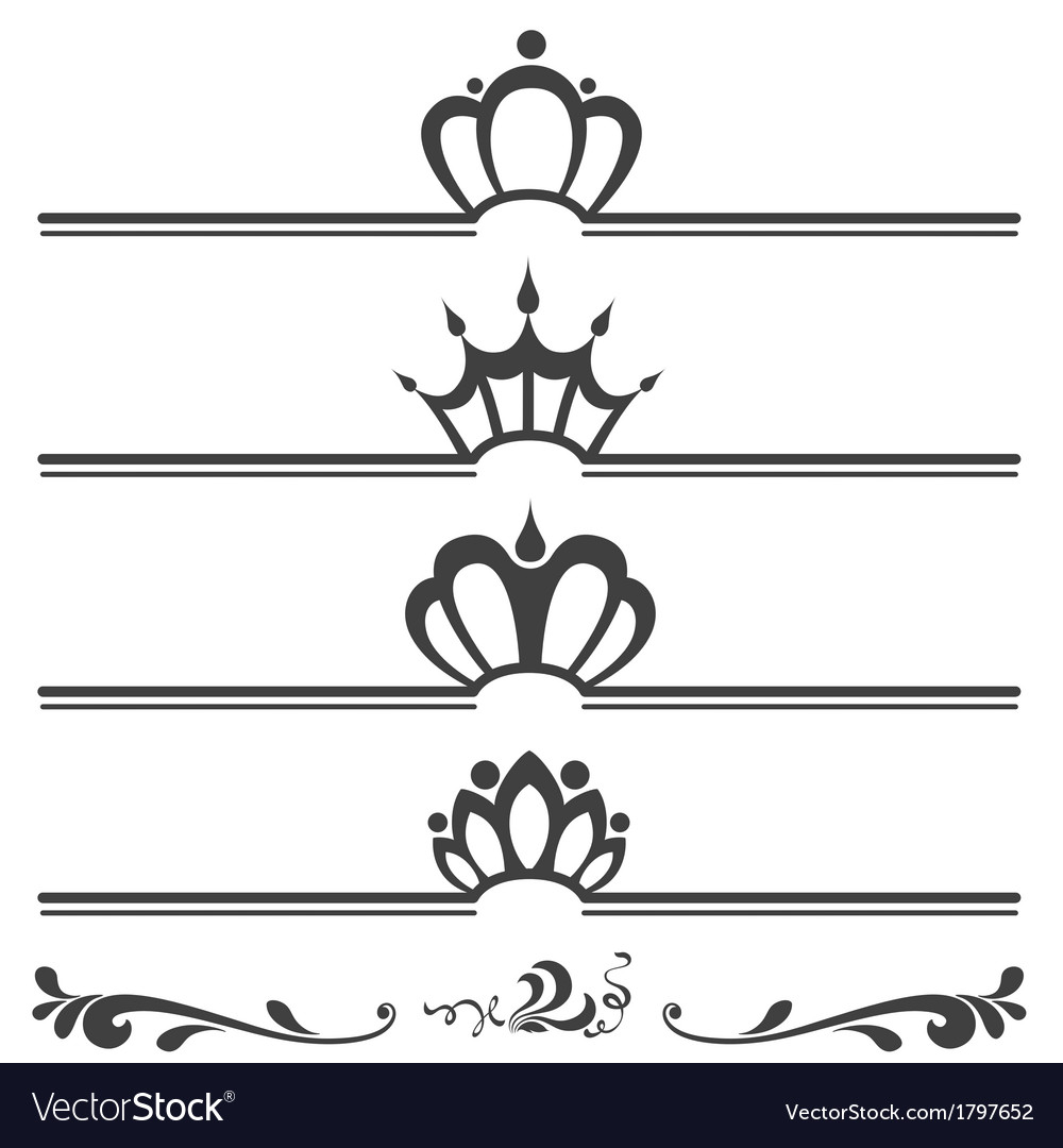 Collection of vintage text headers with crowns vector | Price: 1 Credit (USD $1)