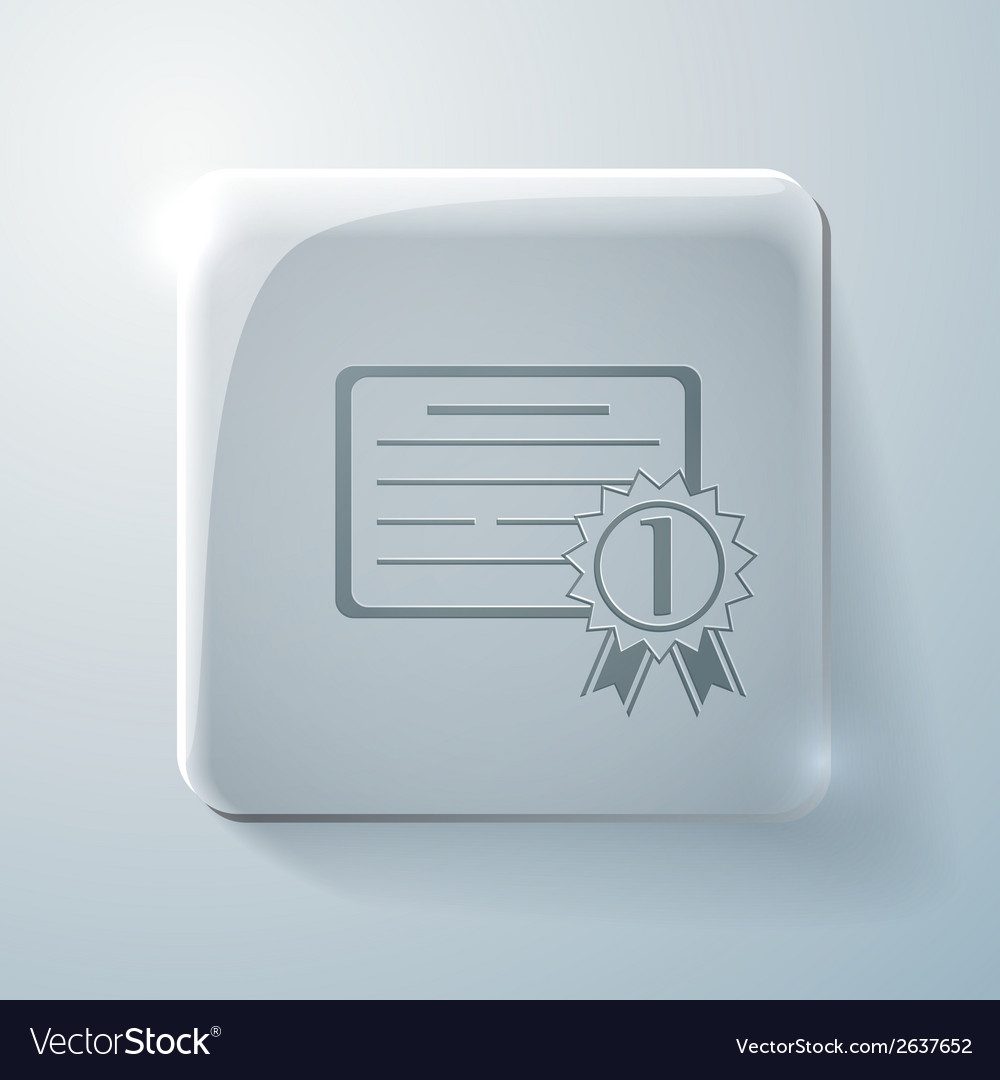 Diploma for the first place glass square icon vector | Price: 1 Credit (USD $1)