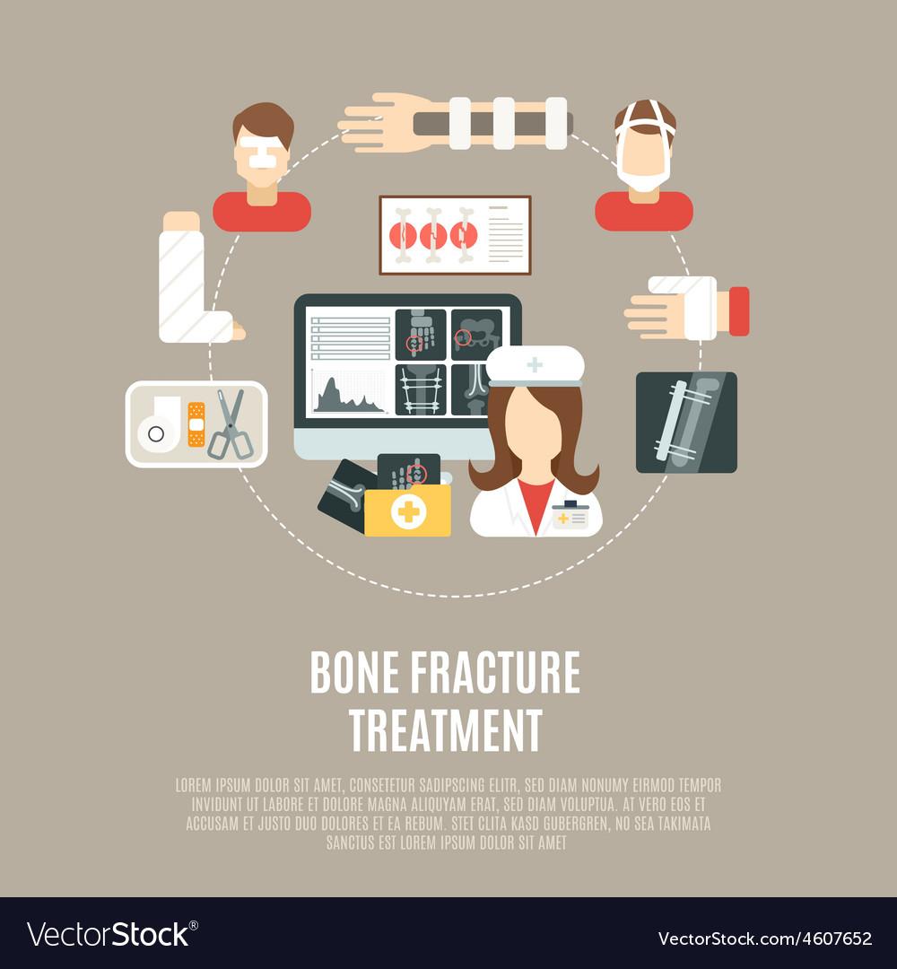 Fracture bone treatment vector | Price: 1 Credit (USD $1)