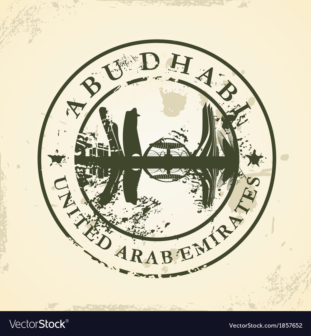 Grunge rubber stamp with abu dhabi uae vector | Price: 1 Credit (USD $1)