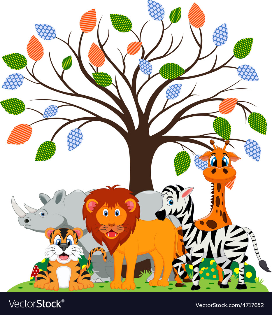 Lion tiger zebra rhino and giraffe were playing vector | Price: 1 Credit (USD $1)
