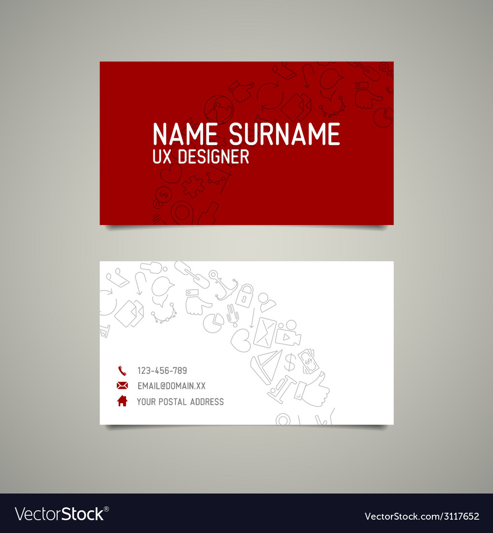 Modern simple business card template for ux vector | Price: 1 Credit (USD $1)