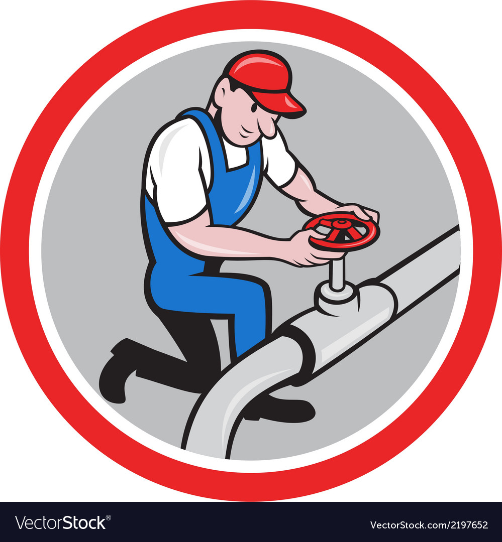 Plumber pipe worker turning on flow circle cartoon vector | Price: 1 Credit (USD $1)