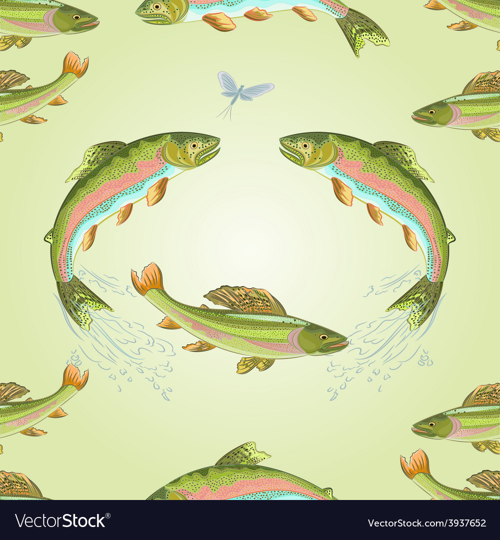 Seamless texture american trout and ephemera vector | Price: 1 Credit (USD $1)