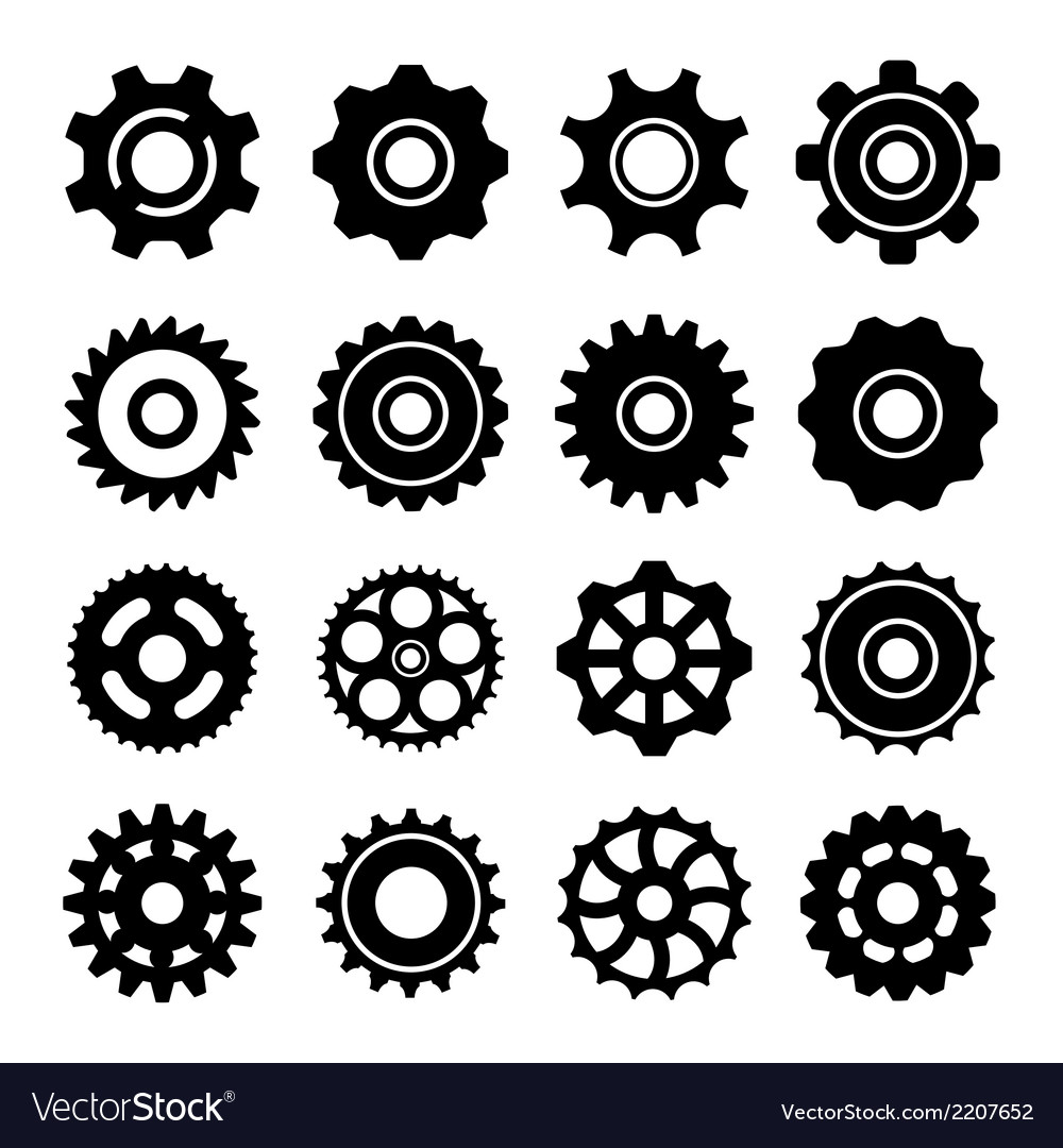 Set icons of gears vector | Price: 1 Credit (USD $1)