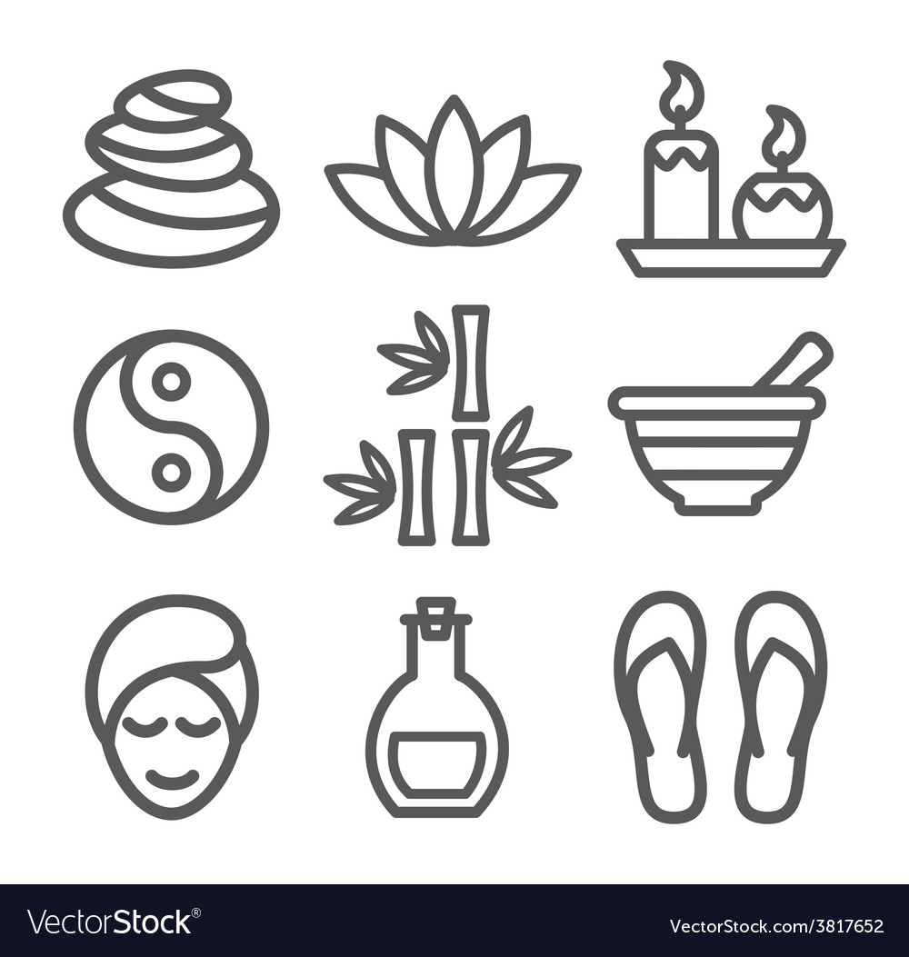 Spa line icons vector | Price: 1 Credit (USD $1)