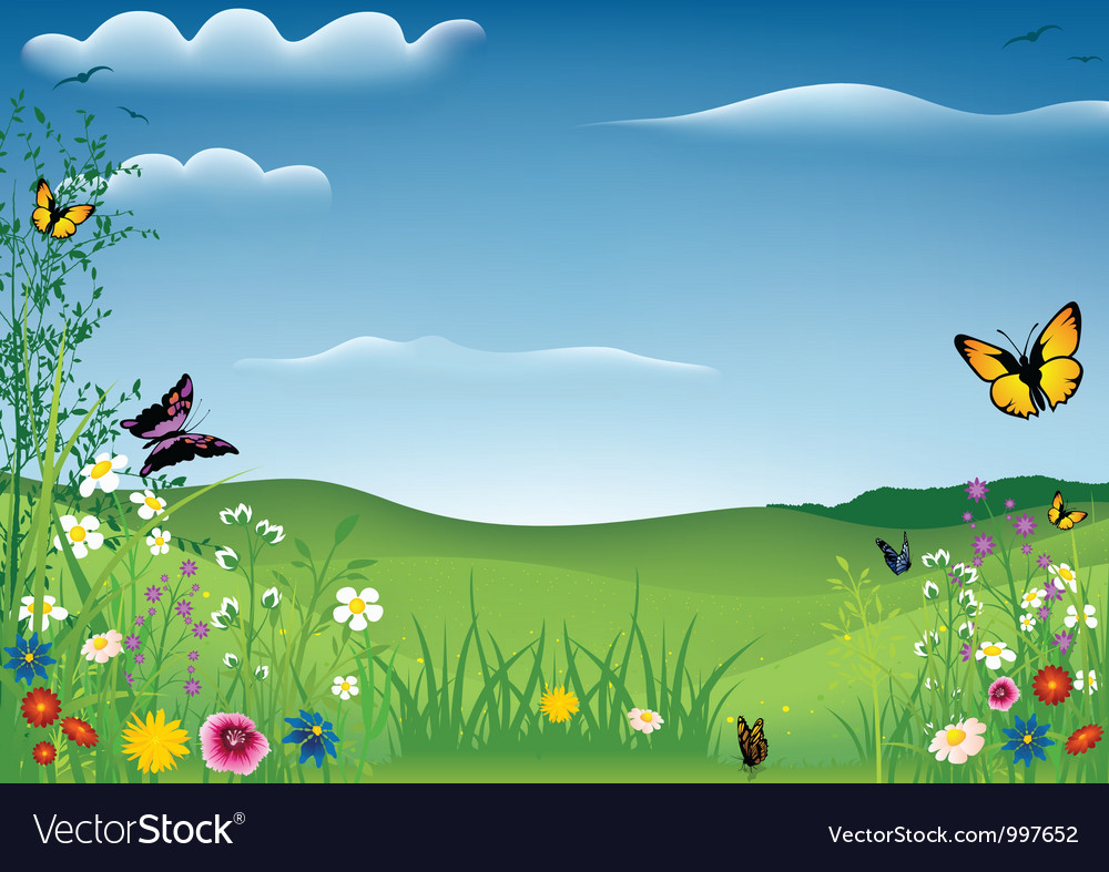 Spring landscape with butterflies vector | Price: 1 Credit (USD $1)