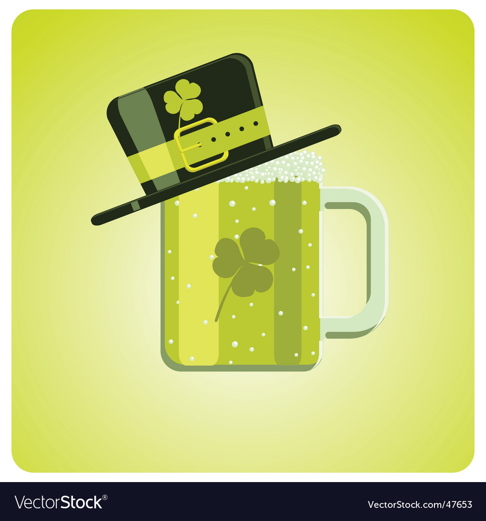 Cartoon green beer and hat vector | Price: 1 Credit (USD $1)