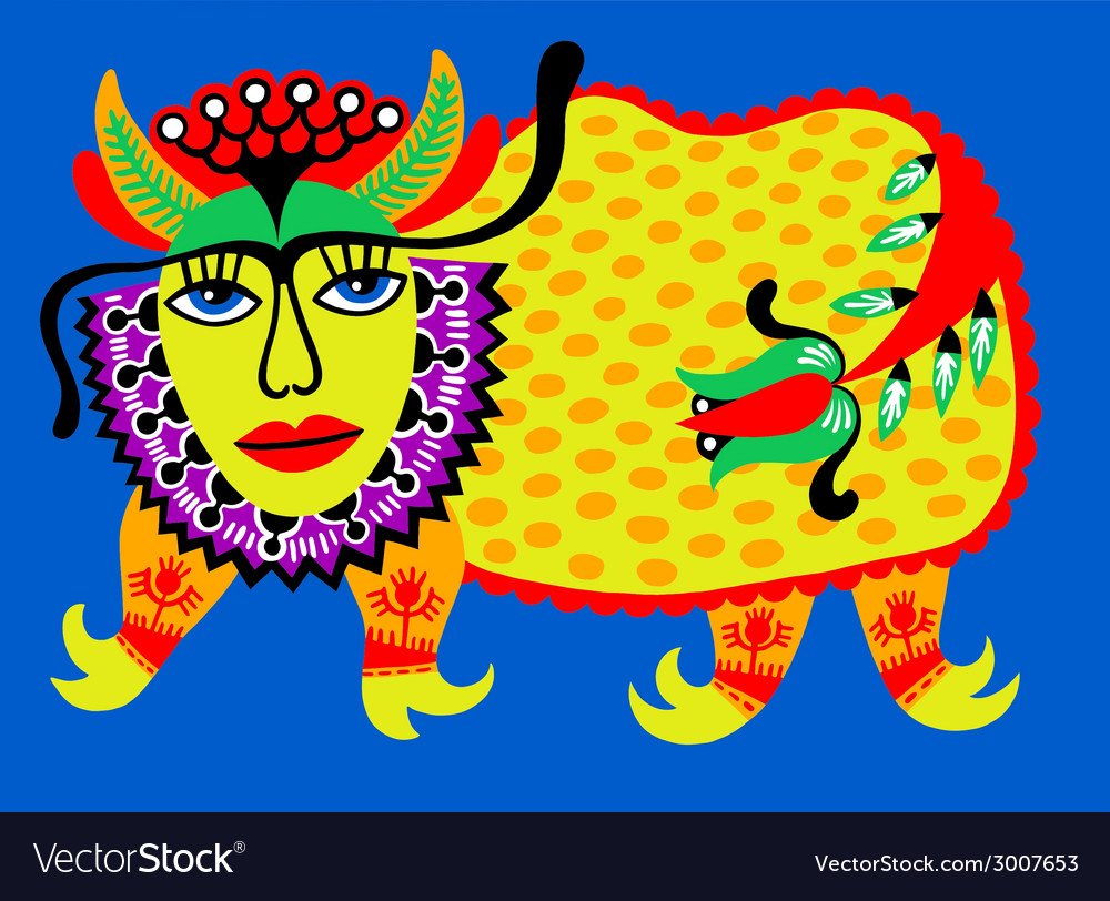 Fantasy animal ukrainian traditional painting vector | Price: 1 Credit (USD $1)