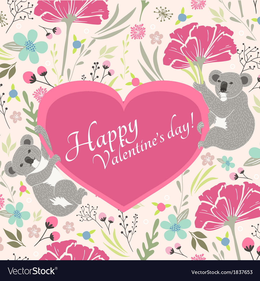 Floral valentines day card with cute koala bears vector | Price: 1 Credit (USD $1)
