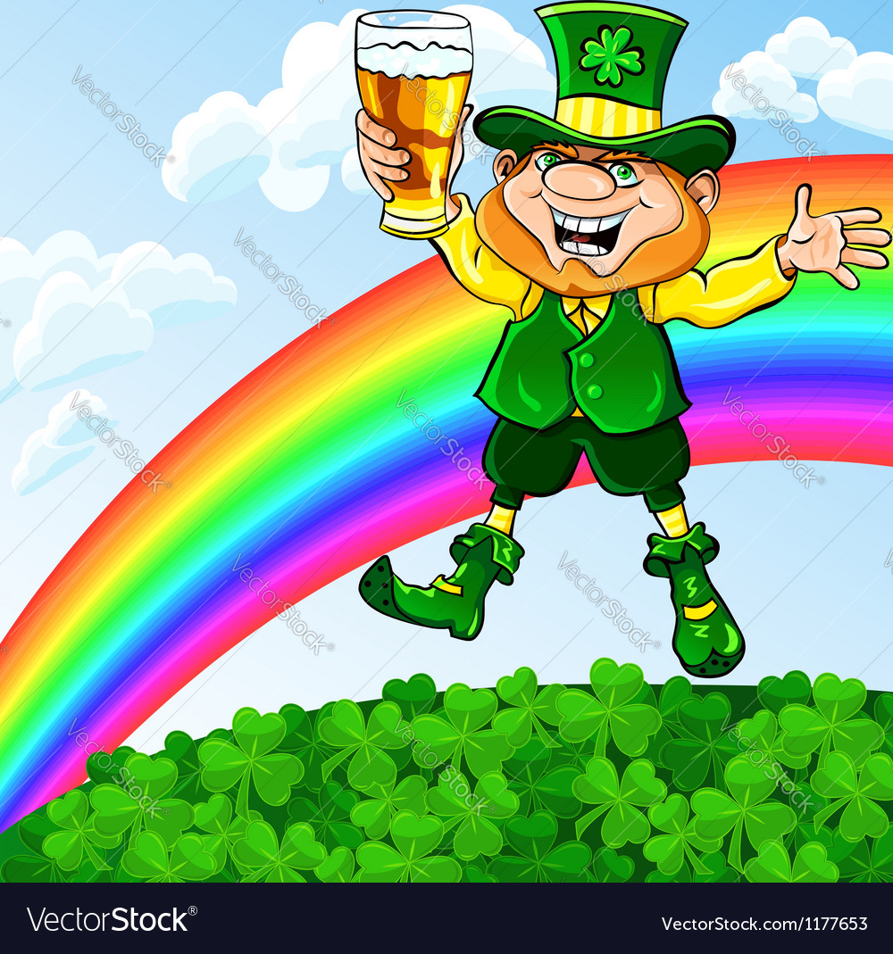 Saint patrick day leprechaun with a glass of beer vector | Price: 3 Credit (USD $3)