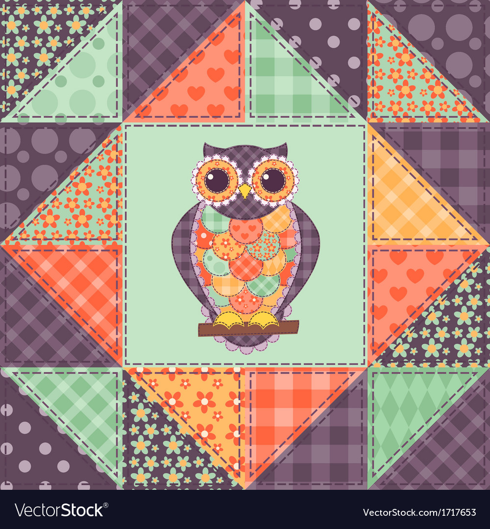Seamless patchwork owl pattern 1 vector | Price: 1 Credit (USD $1)