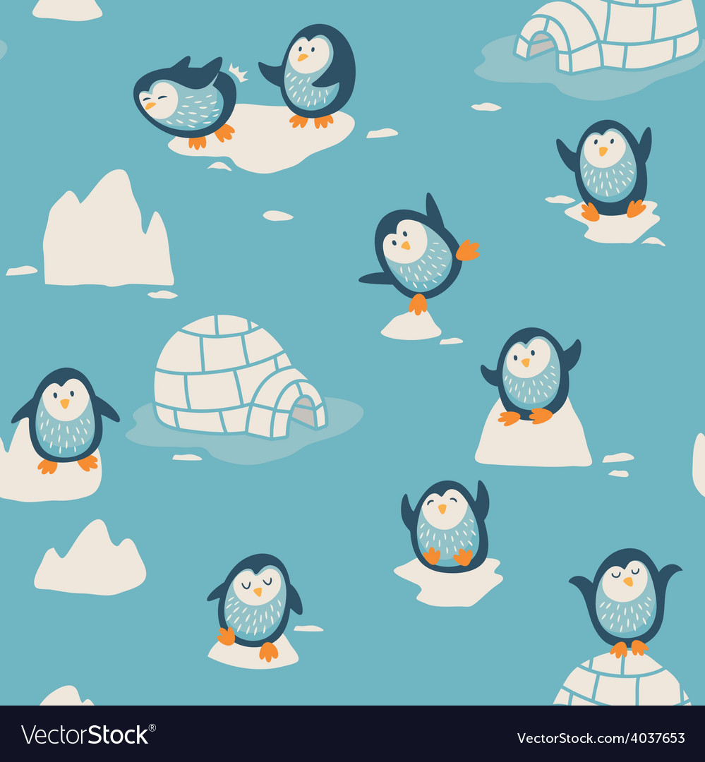 Seamless pattern with little cute penguins vector | Price: 1 Credit (USD $1)