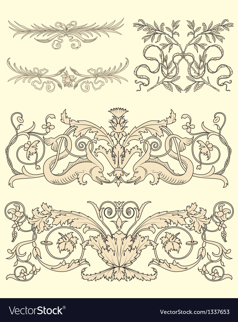 Set of five clasical ornaments vector | Price: 1 Credit (USD $1)