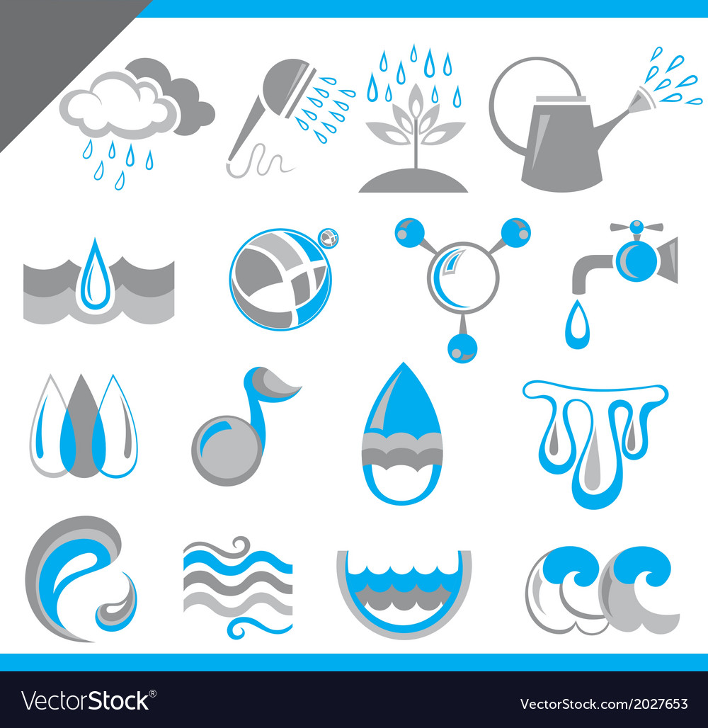 Set of water icons for design vector | Price: 1 Credit (USD $1)