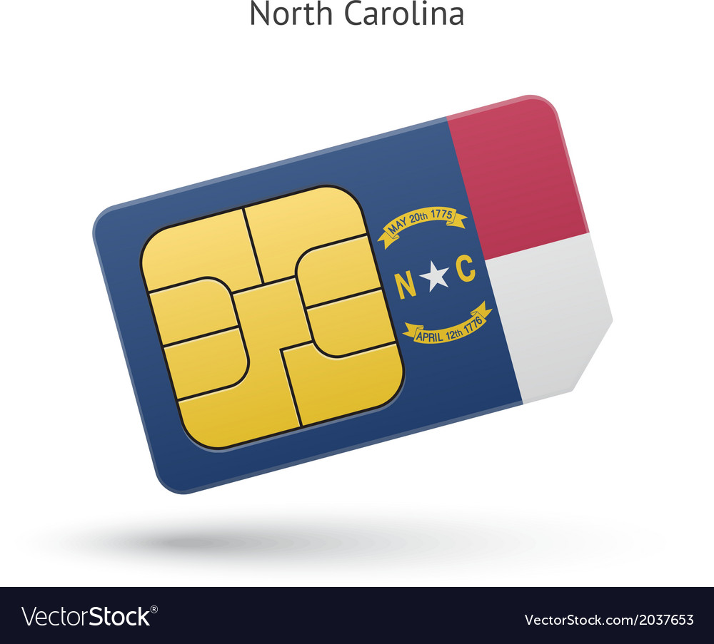State of north carolina phone sim card with flag vector | Price: 1 Credit (USD $1)