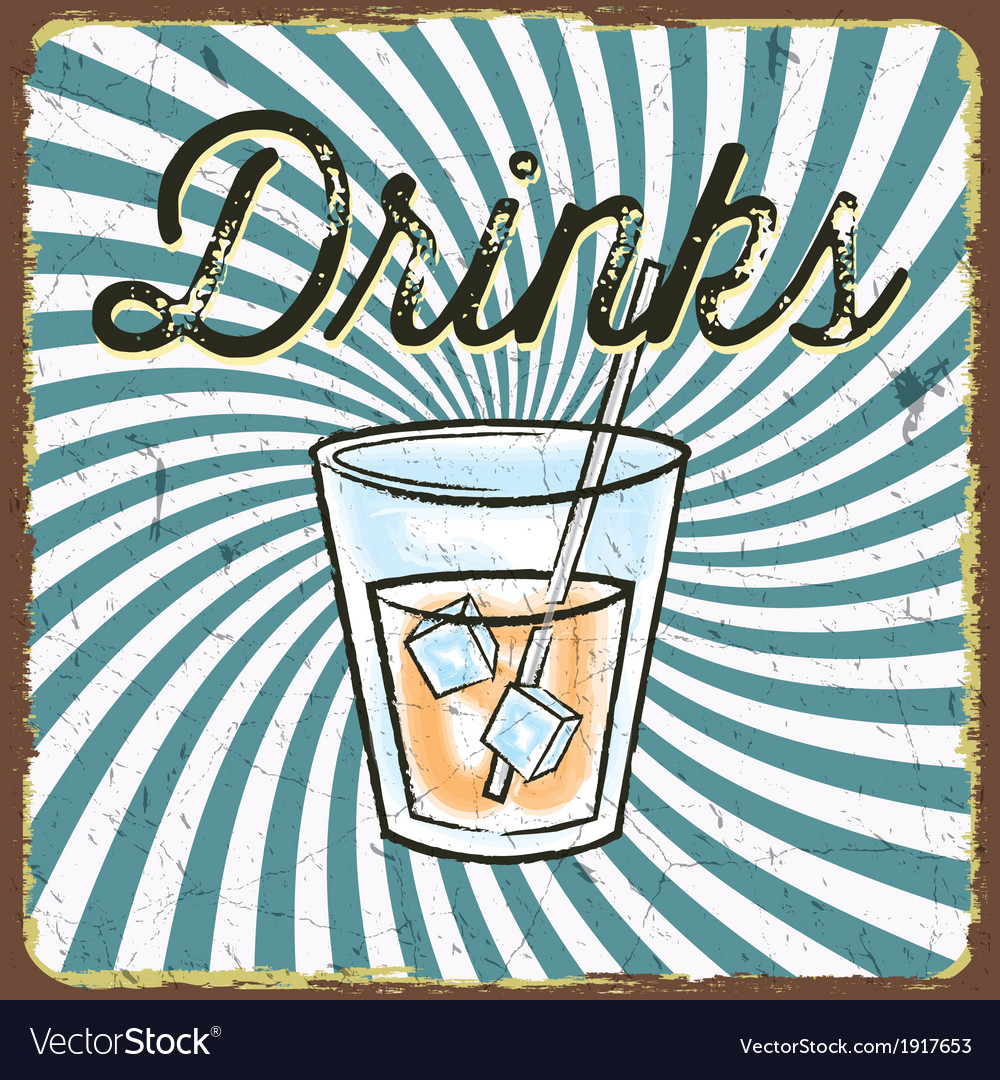 Vintage drink poster vector | Price: 1 Credit (USD $1)
