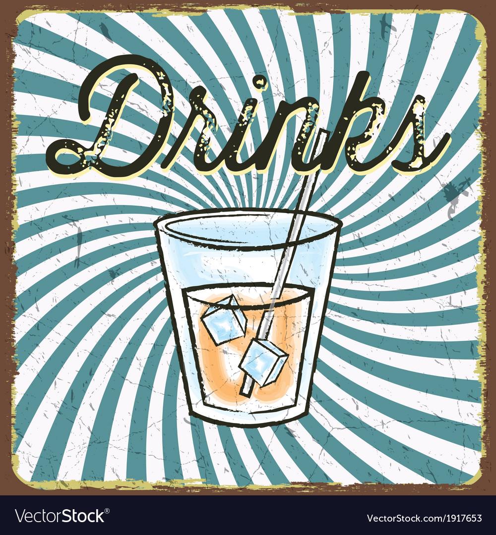 Vintage drink poster vector | Price: 1 Credit (USD $1)
