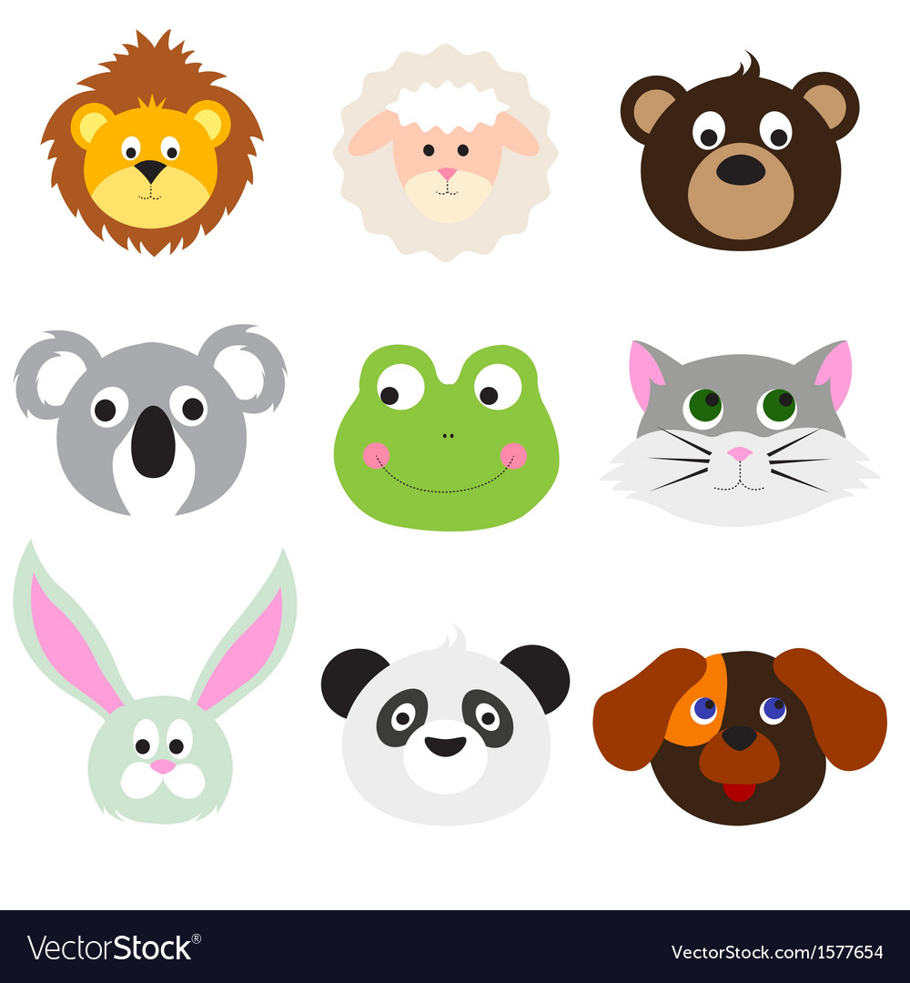 Animal faces set vector | Price: 1 Credit (USD $1)