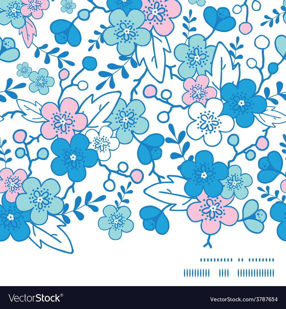Blue and pink kimono blossoms horizontal vector | Price: 1 Credit (USD $1)