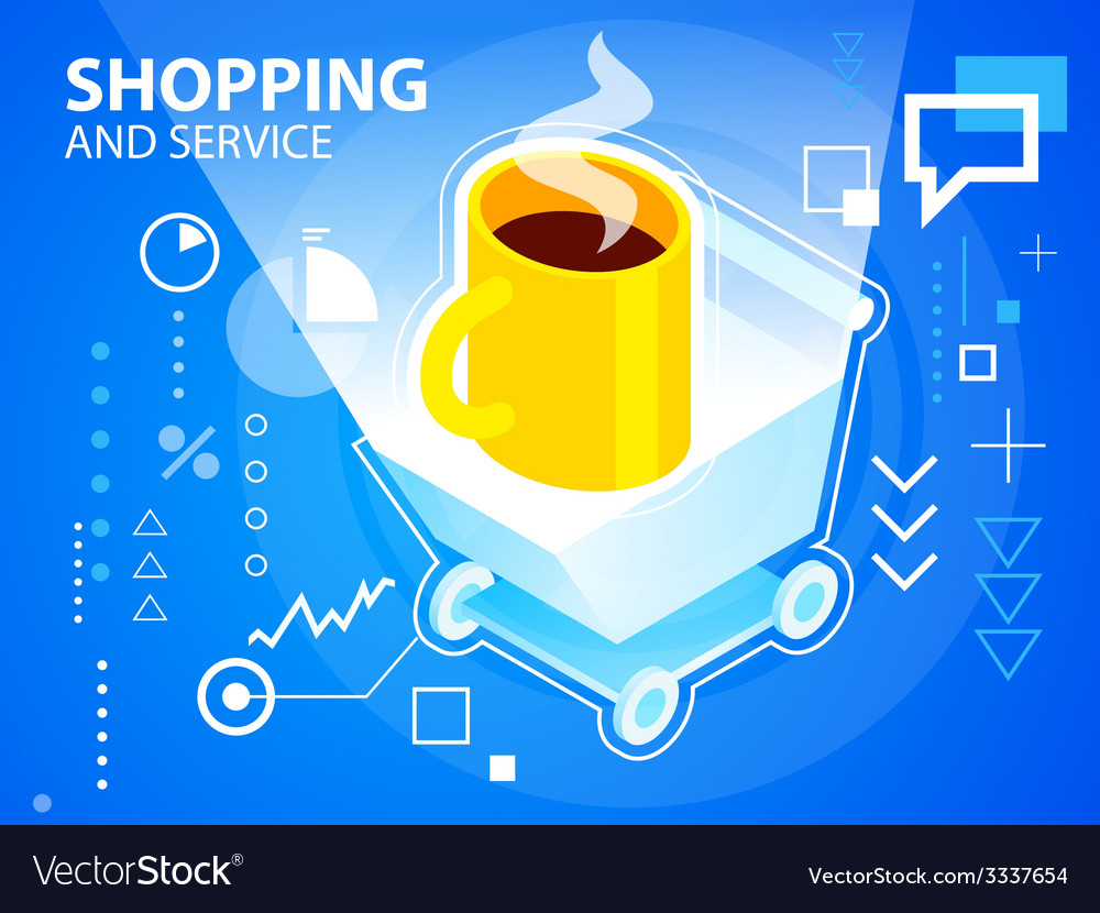 Bright shopping trolley and coffee on blue b vector | Price: 3 Credit (USD $3)
