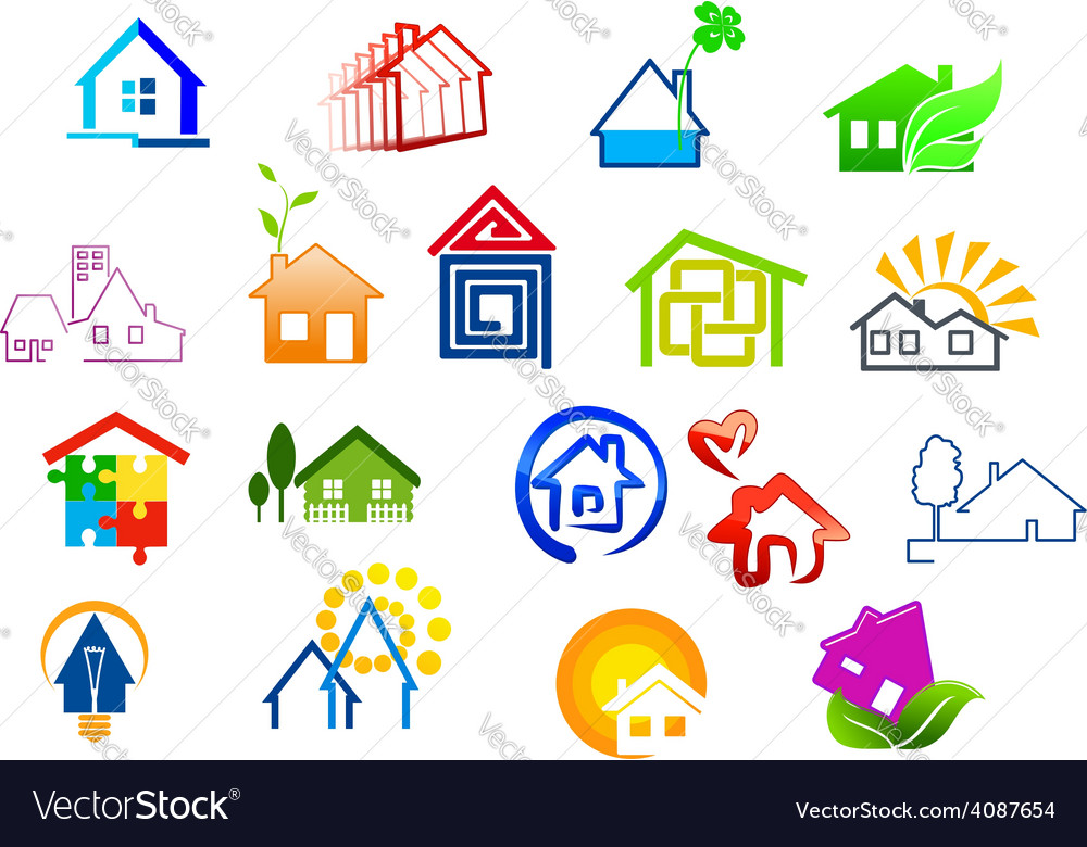 Colorful real estate and house icons vector | Price: 1 Credit (USD $1)