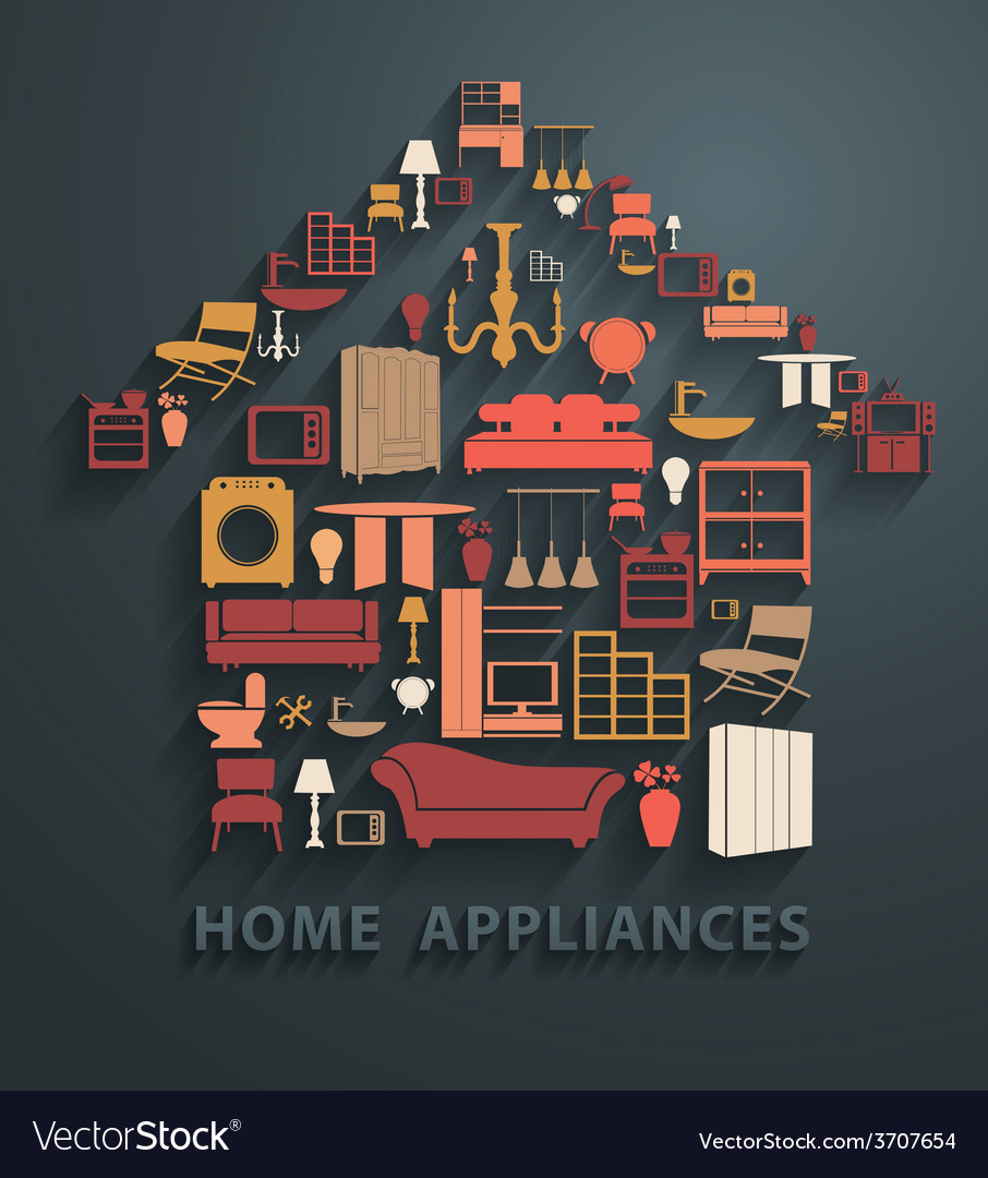 Flat design concepts home appliances icons vector | Price: 1 Credit (USD $1)