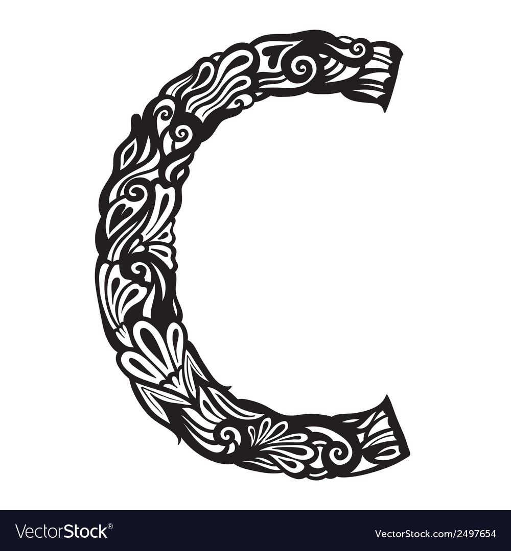 Floral font c vector | Price: 1 Credit (USD $1)