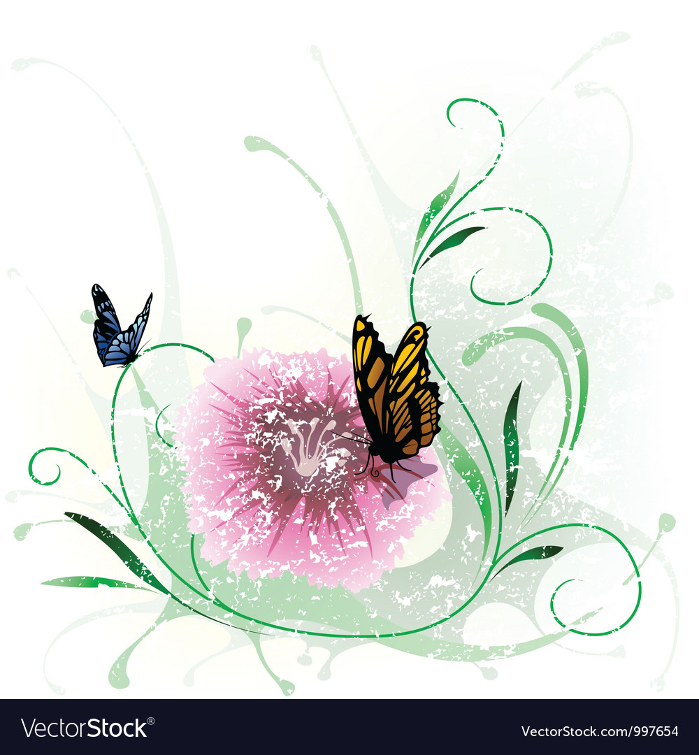 Floral splash and butterfly vector | Price: 1 Credit (USD $1)