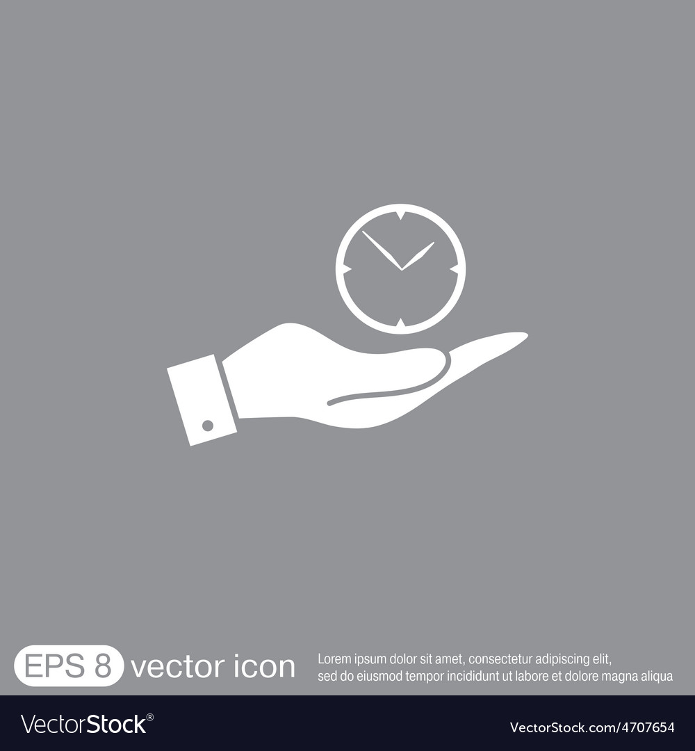 Hand holding a clock icon watch symbol time vector | Price: 1 Credit (USD $1)