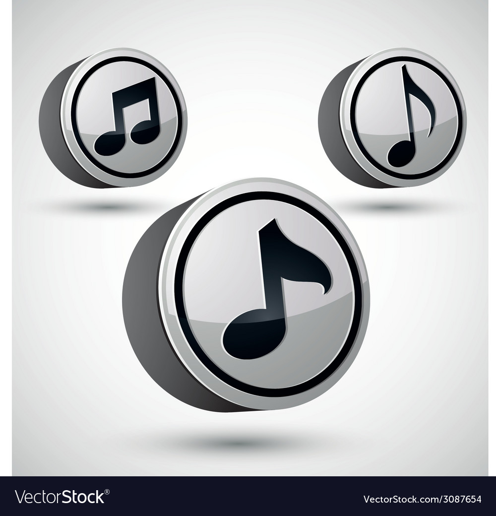 Music note icon isolated 3d music theme design vector | Price: 1 Credit (USD $1)