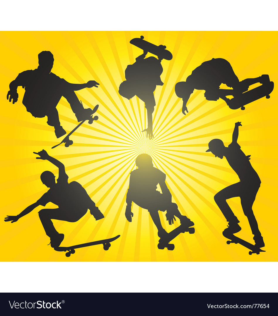 Skateboarding silhouettes vector | Price: 1 Credit (USD $1)