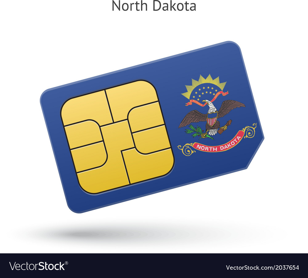 State of north dakota phone sim card with flag vector | Price: 1 Credit (USD $1)