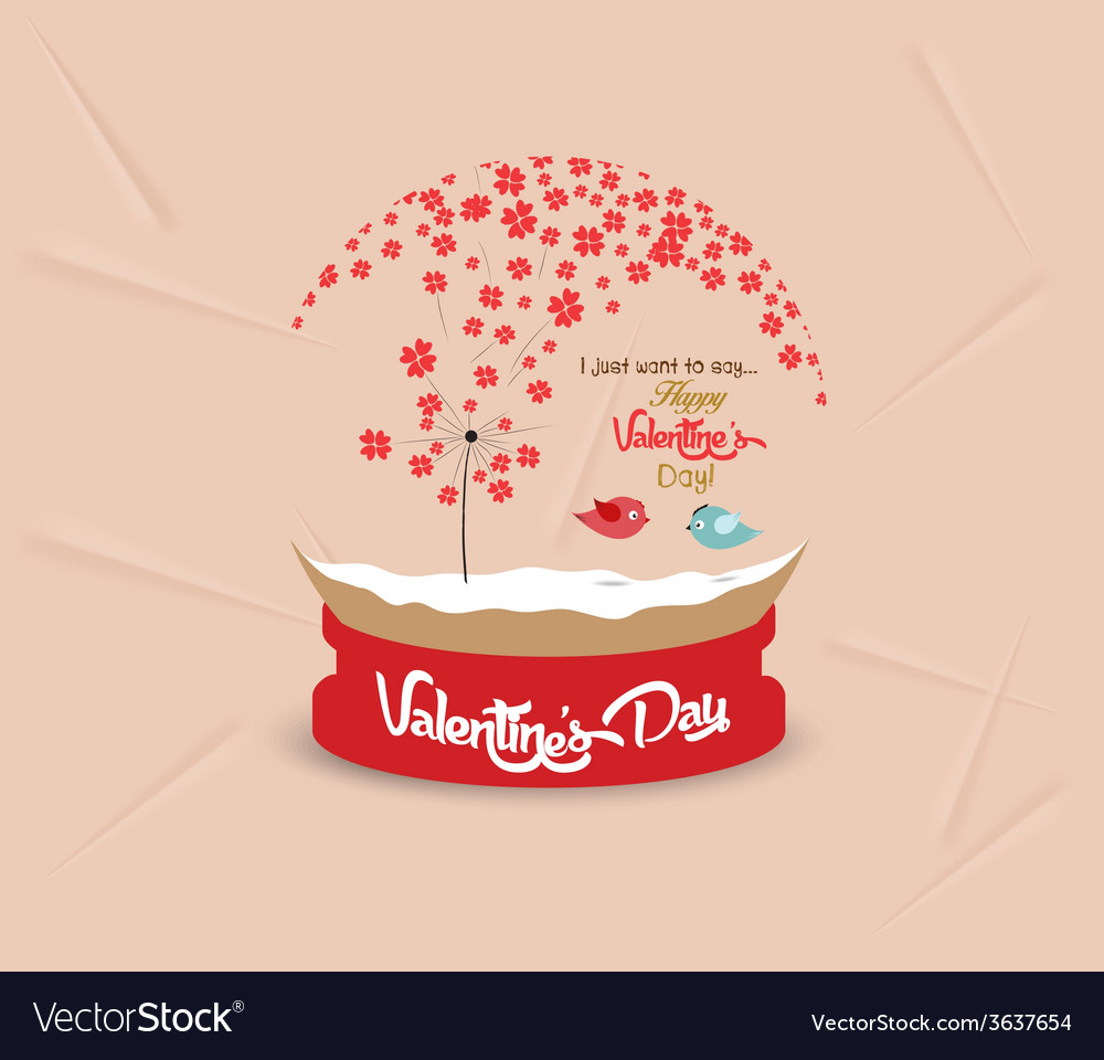 Valentines day with romantic dandelion heart globe vector | Price: 1 Credit (USD $1)