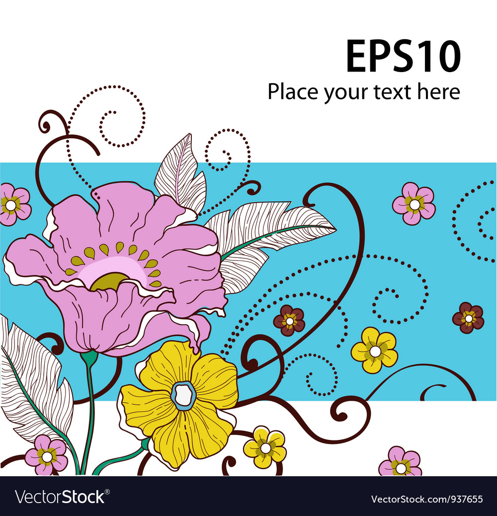 Card with flowers 2 vector | Price: 1 Credit (USD $1)