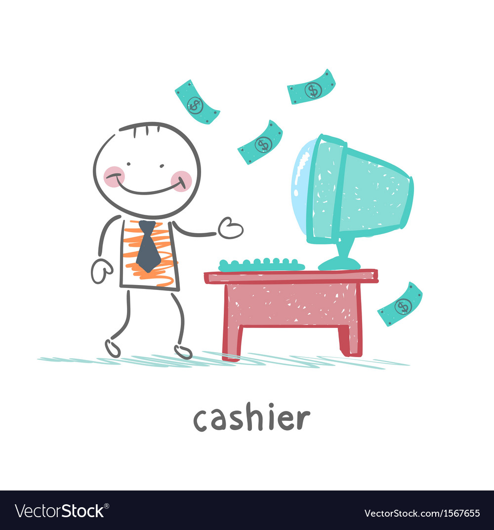 Cashier at the workplace vector | Price: 1 Credit (USD $1)