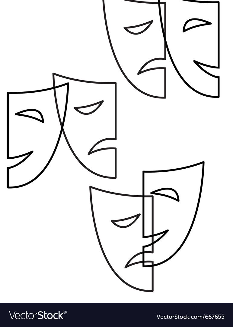 Contour theatrical masks tragedy and comedy vector | Price: 1 Credit (USD $1)
