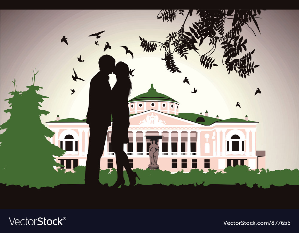 Couple kissing near the old house in the middle of vector | Price: 3 Credit (USD $3)