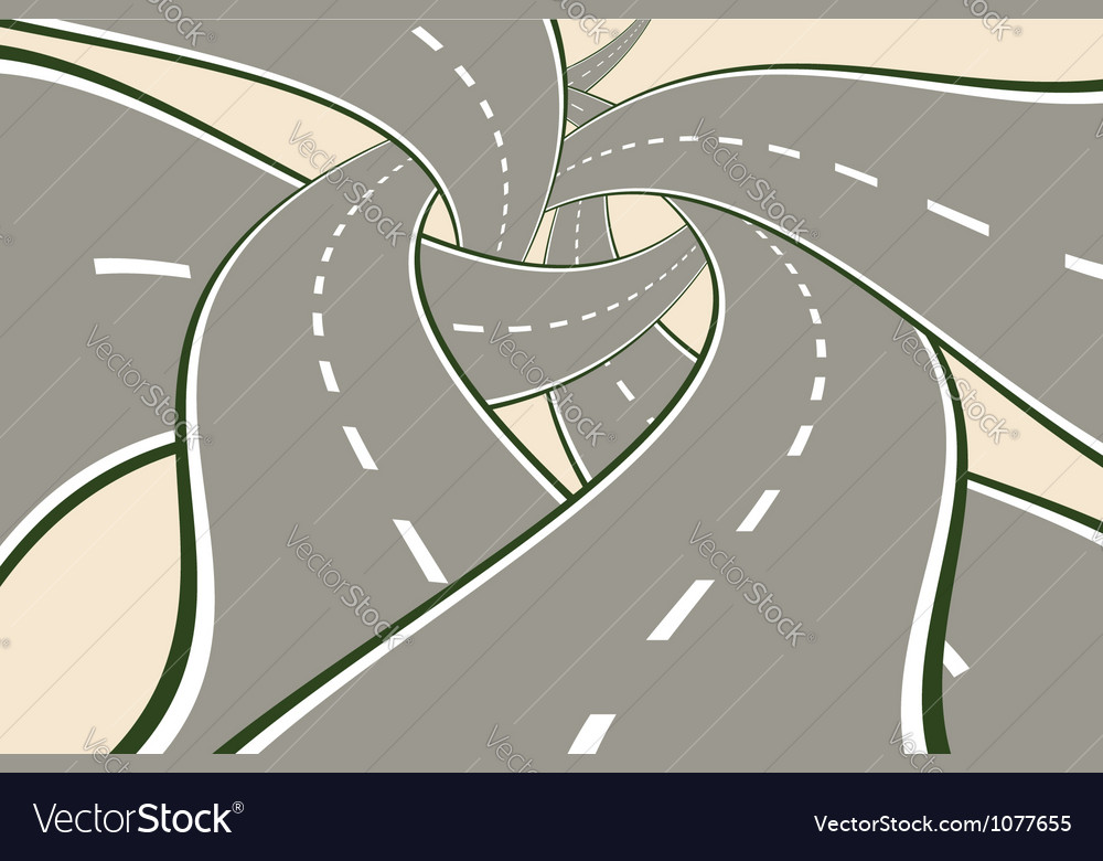 Crossing tangled roads vector | Price: 1 Credit (USD $1)