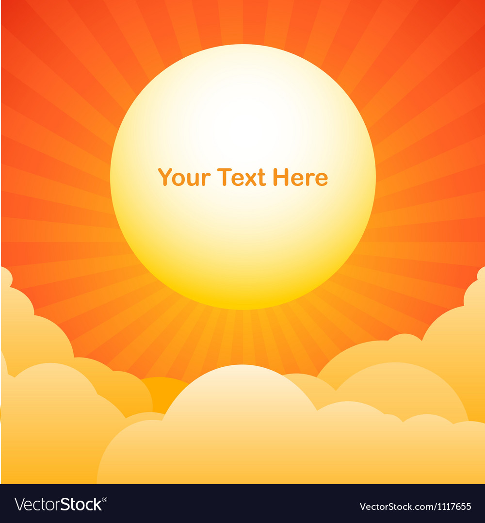 Evening sky background with sun text space vector | Price: 1 Credit (USD $1)