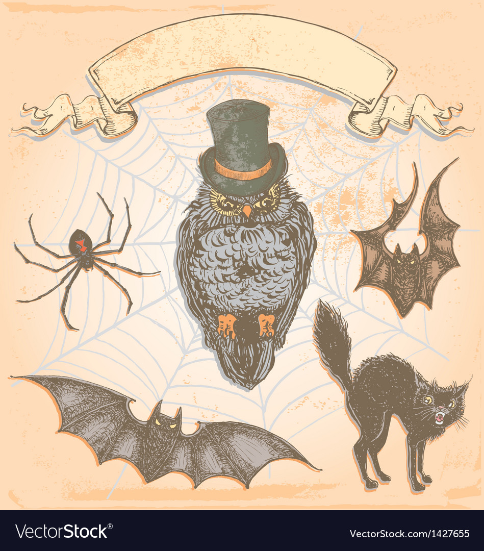Hand drawn vintage halloween spooky owl set vector | Price: 3 Credit (USD $3)