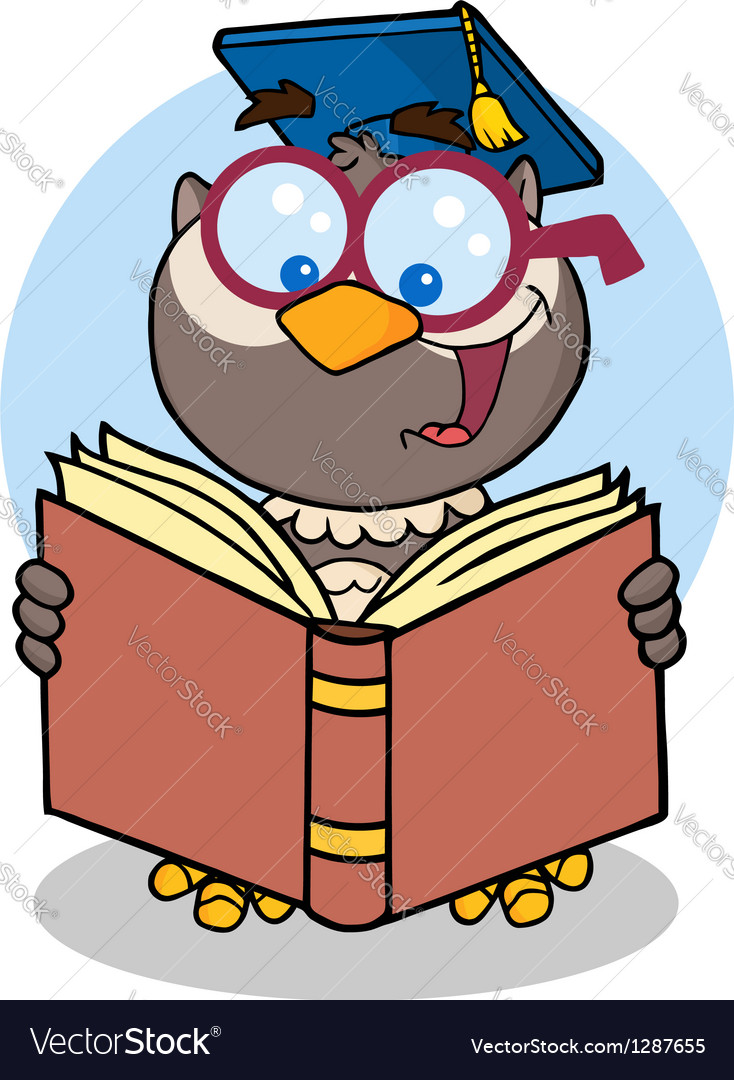 Owl teacher with graduate cap reading a book vector