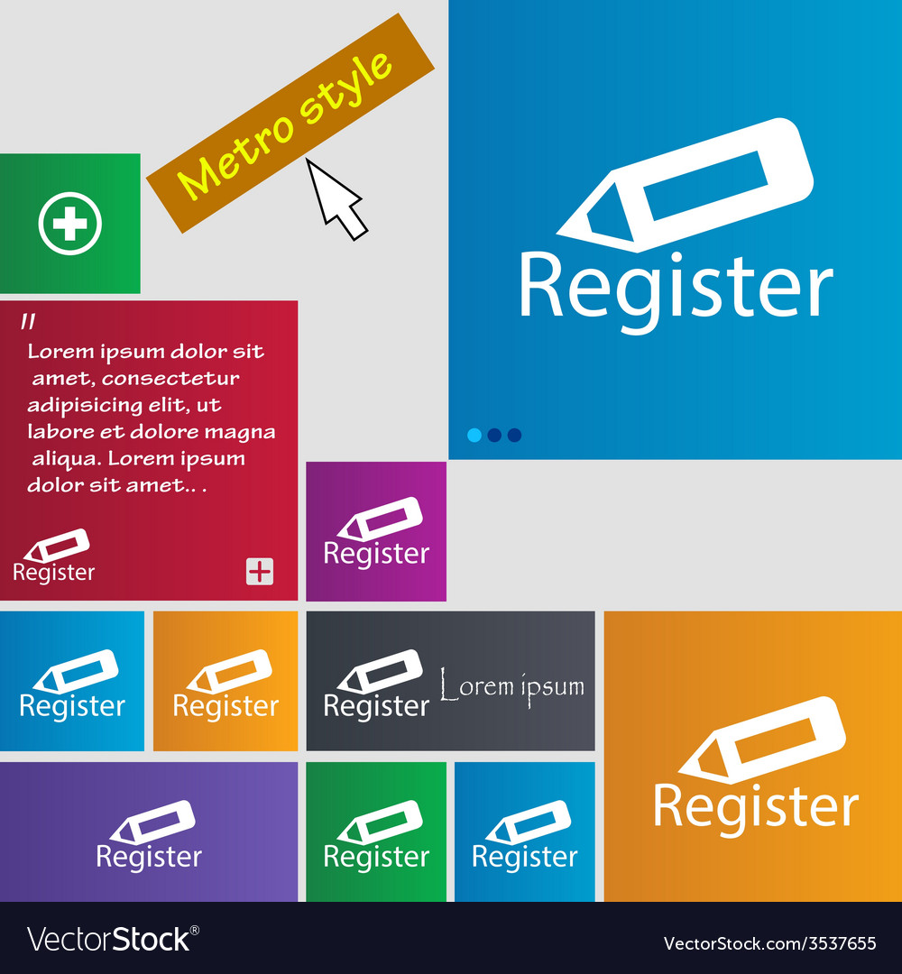 Register sign icon membership symbol website vector | Price: 1 Credit (USD $1)